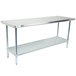 Regency 30 inch x 72 inch 18-Gauge 304 Stainless Steel Commercial Work Table with Galvanized Legs and Undershelf
